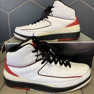 Used! Air Jordan 2 2004 White Red Chicago Size 13